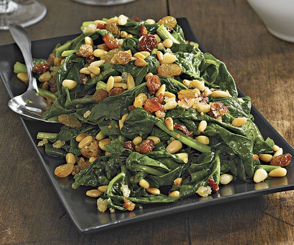 Sautéed Spinach with Golden Raisins, Pine Nuts and Fresh Breadcrumbs