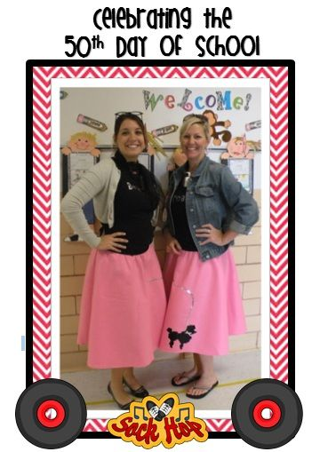 Celebrating our 50th Day of School! My mom has a poodle skirt, pink ...