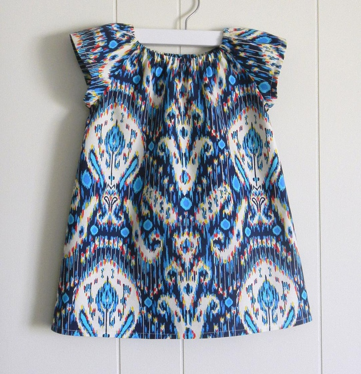 ShiftMod Tunic / Navy Ikat / 6 months, 12 months, 2t, 3t, 4t, 5t, 6Y, by PerryFinalia. $28.00, via Etsy.