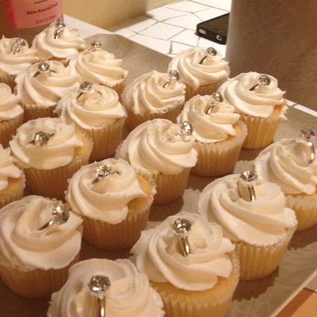 Bachelorette or engagement cupcakes. Weddings Pinterest