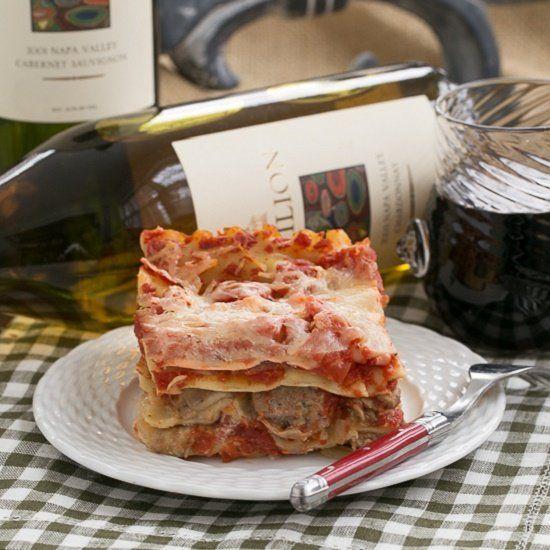 Easy Sausage and Mushroom Lasagna. | mushroom & pasta | Pinterest