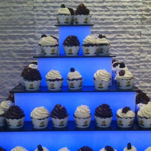@StuffedCupcakes Beautiful #lighted #cupcake tier with #fantastic #custom #cupcakewrappers  by http://www.katiesheadesign.com/