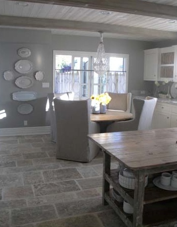Gray walls stone floor island kitchens pinterest for Tile colors for kitchen floor