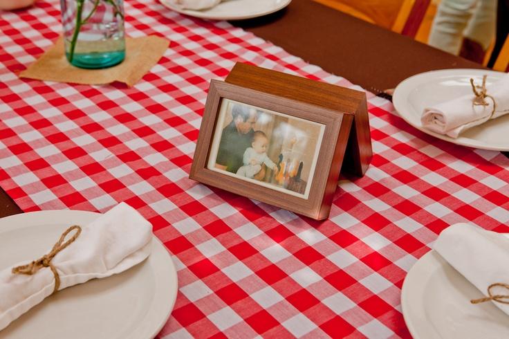 checkerd table cloths bbq baby shower