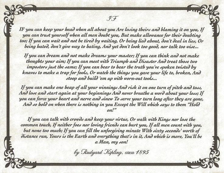 If poem by rudyard kipling print by claudette armstrong