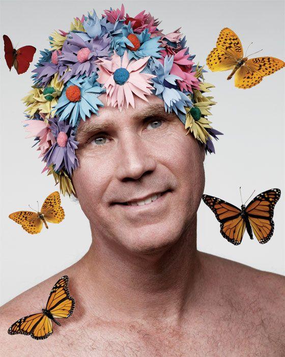 Will Ferrell - daisy swim cap & butterflies