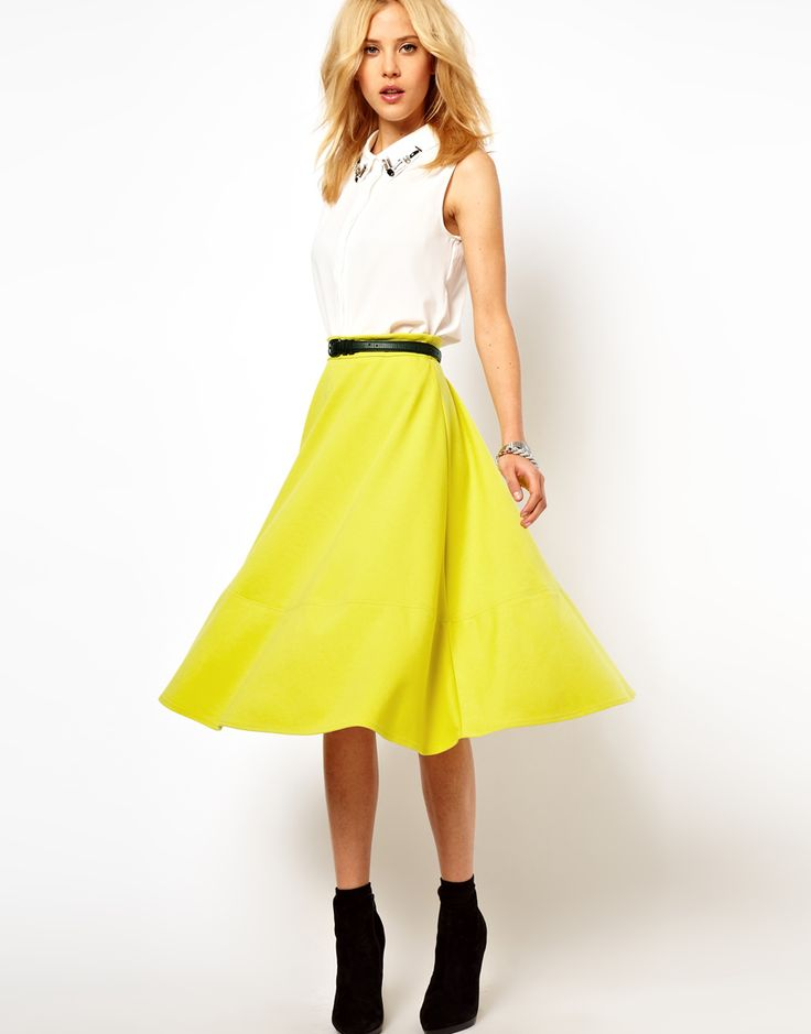 bright yellow midi skirt anthrooutfitting