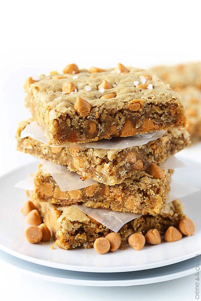 Oatmeal Butterscotch Blondies http://lecremedelacrumb.com/2014/04 ...