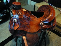 16 inch Pierce Bodine Saddle    *Like New*    Has a wade tree    Been on a horse only two times    Just oiled and turned stir ups out    Very nicely tooled    Comfy saddle    If you have questions please contact Tyler    Text before 4:00 p.m. call/text after 4:00 p.m.    Tyler  (801) 362 0931