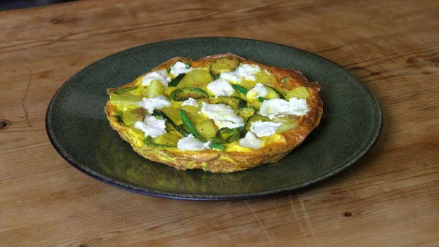Potato, green bean and goat's cheese frittata recipe