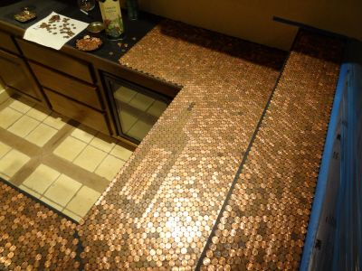 Penny countertop log home pinterest for Copper penny bar top