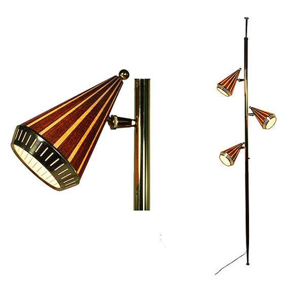 mid century modern tension pole lamp light vintage 1960 39 s. Black Bedroom Furniture Sets. Home Design Ideas