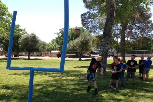 Pool Noodle Goalpost--Score some point with your kids by making this awesome goalpost!