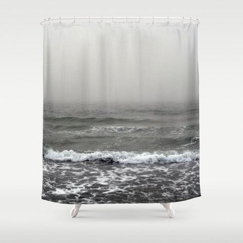 Shower Curtain Silver Gray Beach Ocean Surf Bath Curtain