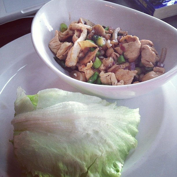 ... wraps: chicken, asparagus, onion and mushrooms sauteed with ginger