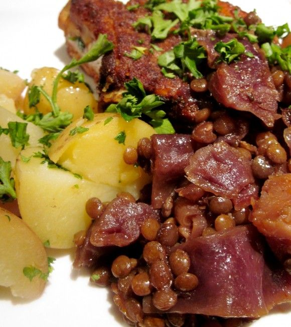 Country Style Pork Ribs with Braised Cabbage and Puy Lentils