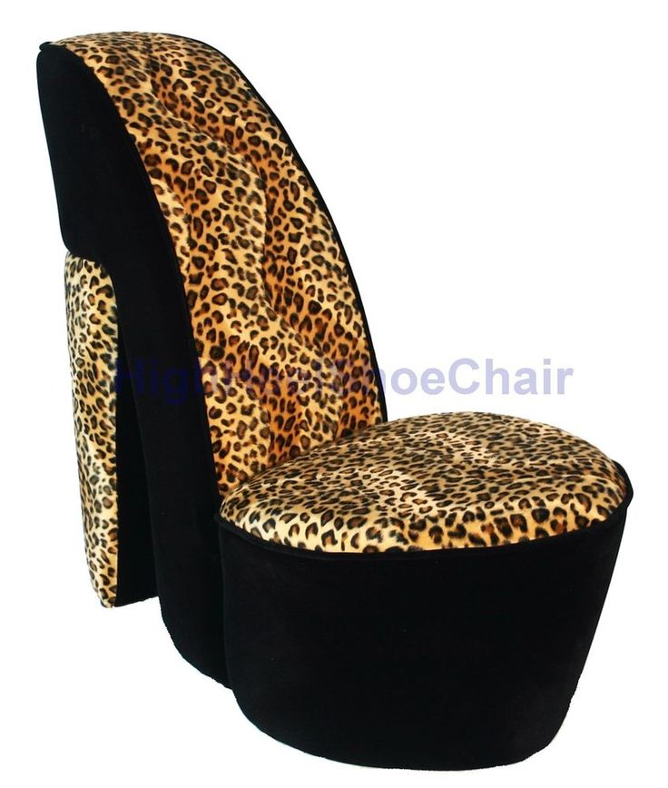 child sized leopard high heel shoe chair shoechair