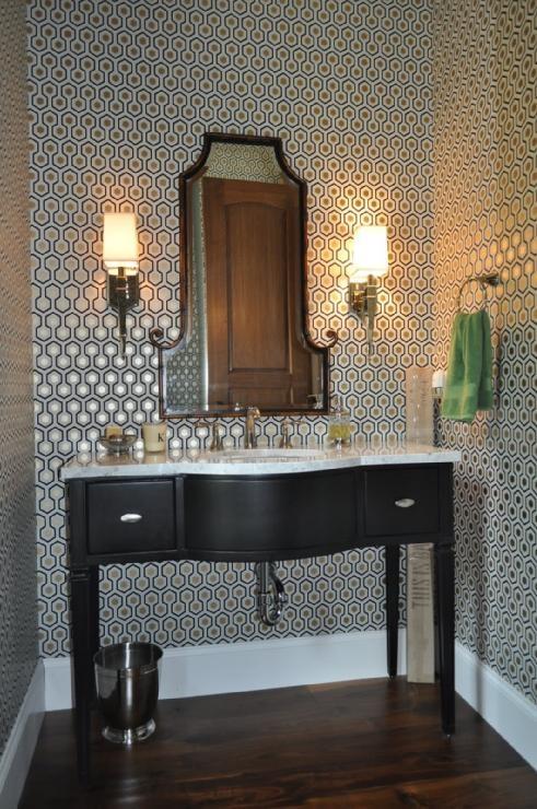 wallpaper in bathroom