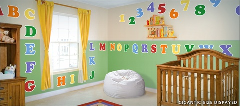 Giant Alphabet and Numbers Wall Stickers Classroom Ideas