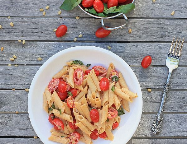Pasta Salad with Tomatoes, Basil and Fresh Ricotta Cheese from The ...