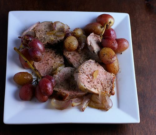 Paleo Dinner: Roasted Pork Tenderloin with Grapes and Sage