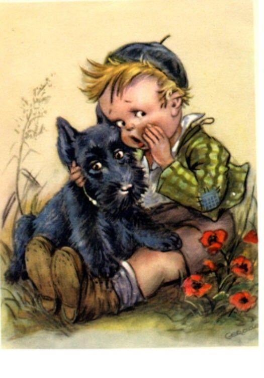 little boy whispers secret to his Scottie dog--cute!