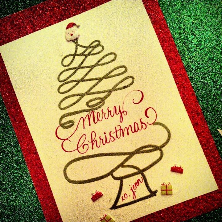 Custom calligraphy christmas card pinterest