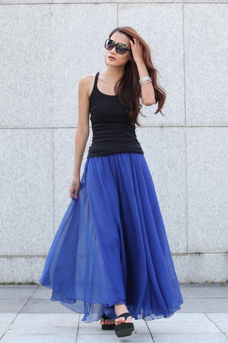 retro chiffon maxi skirt big sweep skirt in