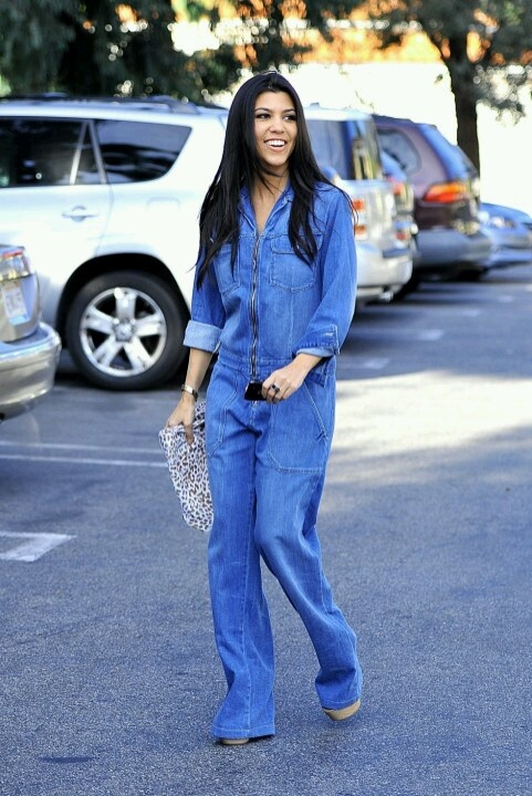 Kourtney Kardashian Denim Jump Suit Pants Jumpsuit
