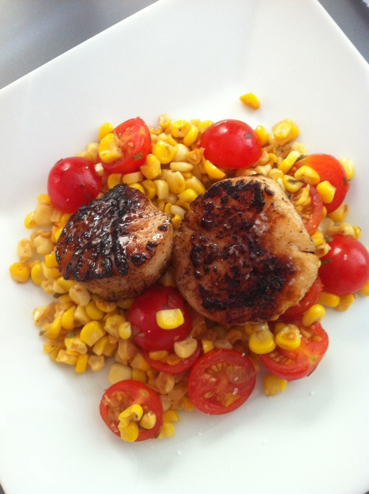 sea scallops on a bed of corn salad with cherry tomatoes, tarragon ...