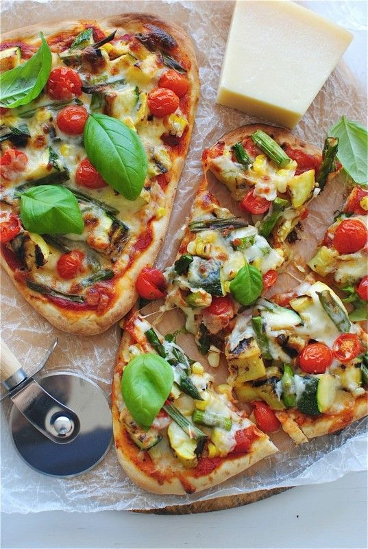Grilled veggie naan pizza - can't lie, naan bread is amazing. Not the ...