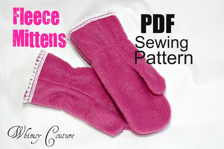 Whimsy Couture Sewing Pattern Tutorial ebook Kids Fleece Mittens 12m ...