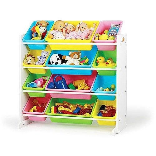 Large kids toy room book organizer storage bins toddler for Toy and book storage