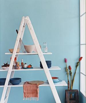 DIY kitchen shelf made from a ladder
