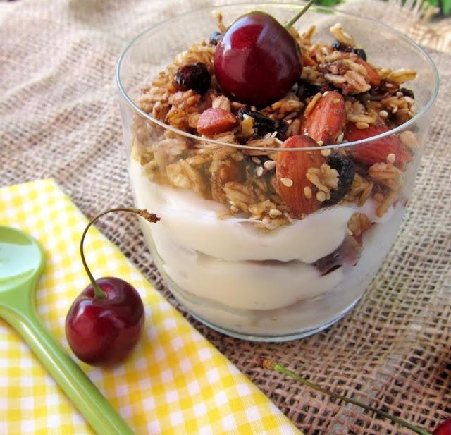 Cranberry Almond Granola Parfaits Recipe — Dishmaps
