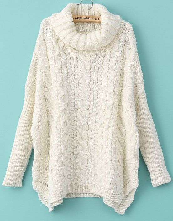 White Long Sleeve Turtleneck Chunky Cable Knit Sweater - Fashion