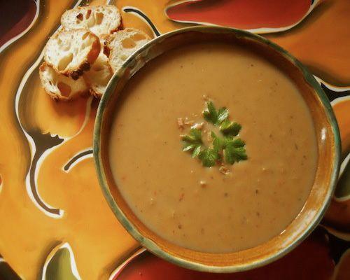 Roasted Eggplant Garlic Soup (sub coconut milk for dairy free)
