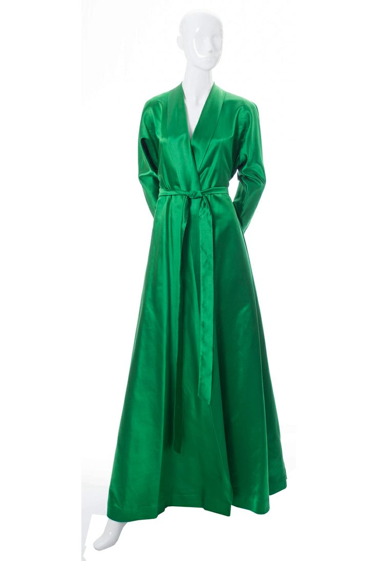Vintage hostess gown Emerald Green Satin 1940's robe
