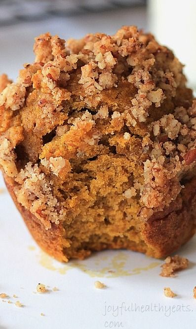 Pumpkin Muffins with Cinnamon Pecan Streusel Toppin