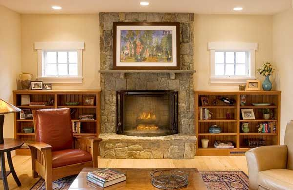 Bungalow Shelving And Fireplace Craftsman Style Pinterest