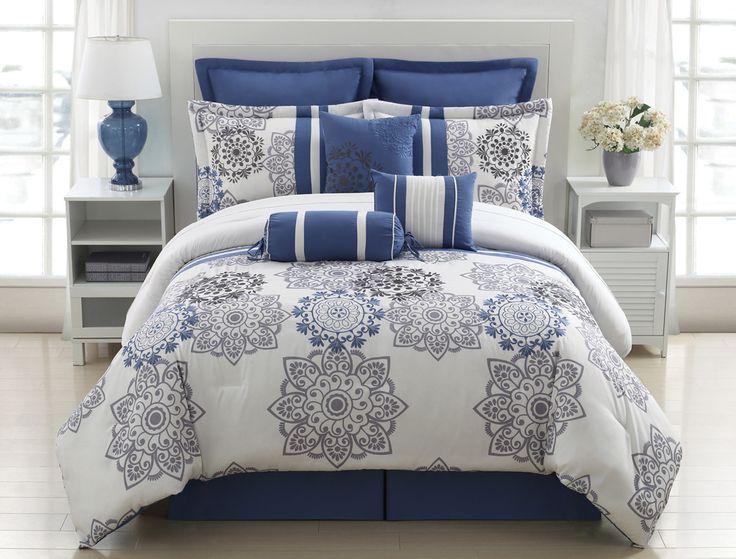 9 Piece King Kasbah Blue And Gray Comforter Set Decor