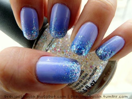 Periwinkle blue and glitter by Precious Polish