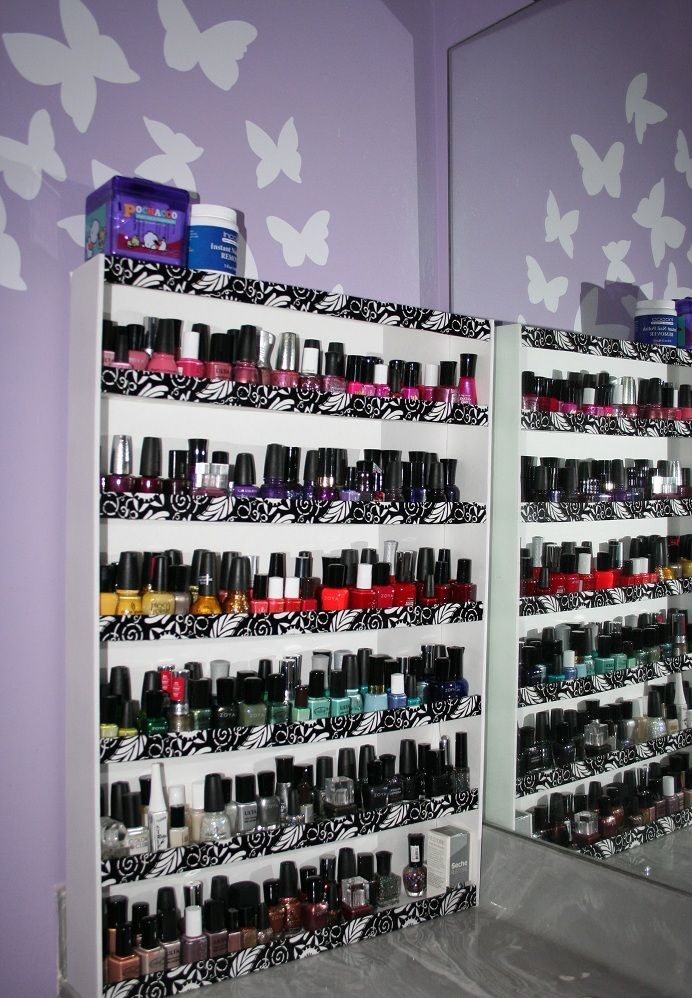 DIY nail polish rack  With foam board, decorative tape & hot glue ;)  http://ivypink.typepad.com/my_weblog/2012/01/mani-monday-diy-nail-rack.html
