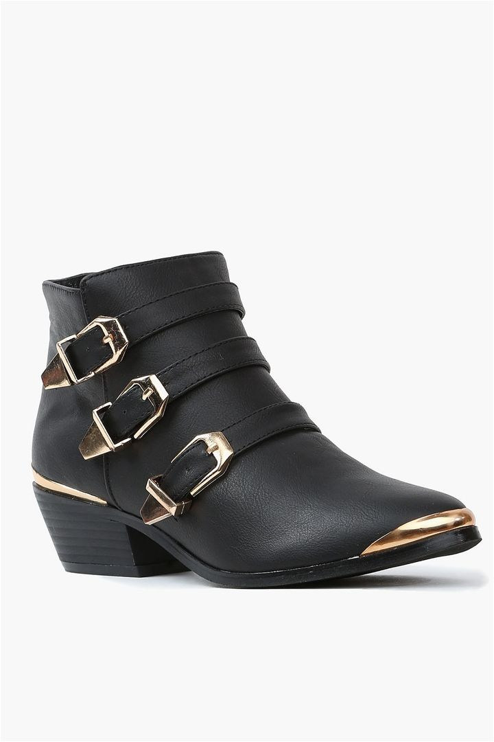 gold buckle ankle boots the essentials