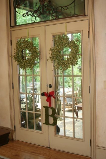 Christmas door country french wreath moss covered letter for French door decorating ideas
