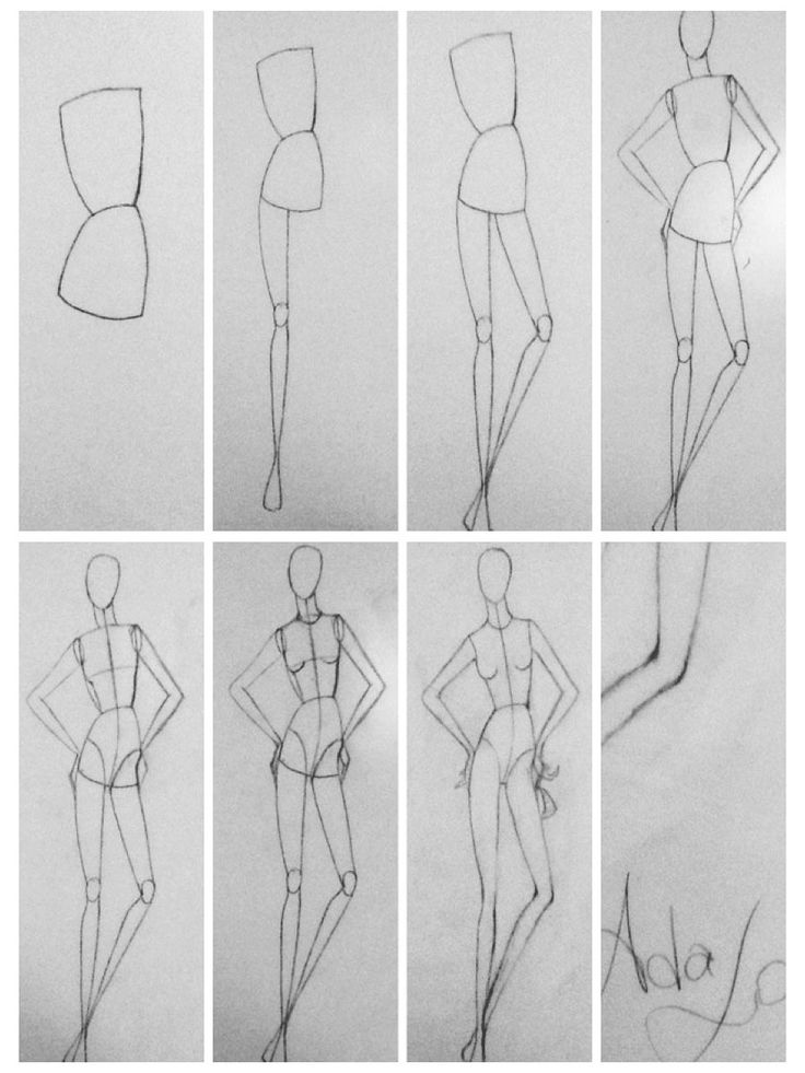 Fashion designer sketches step by step