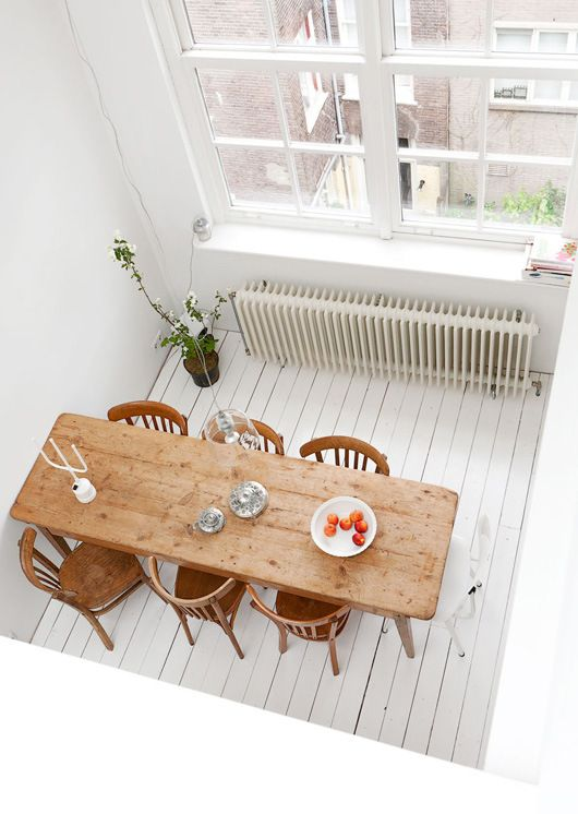White Plank Floors Rustic Dining Table and the Mother of all Radiators!  Interior Inspiration From The Netherlands