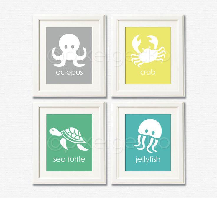 Teal Green Yellow Gray Nursery Decor Ocean Life Art Print Set Set