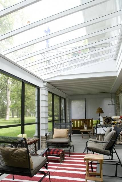 Sunroom with clear polycarbonate roof casa pinterest for Sunroom roofs