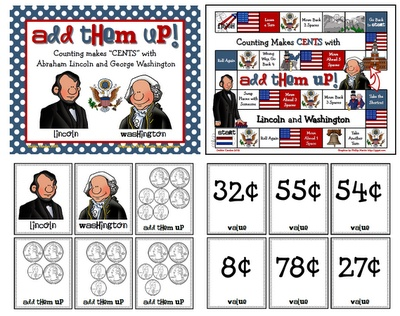"""Students will practice adding """"Washington"""" Quarters and """"Lincoln"""" Pennies as they make their way around the President's Day game board using coin cards and a die."""